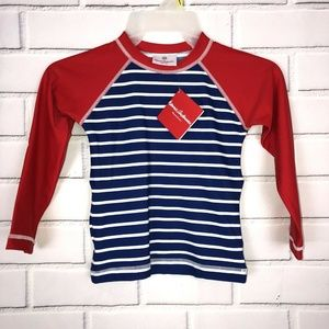 NWT HANNA ANDERSSON NAVY BLUE RED STRIPE L/S RASH